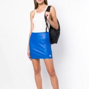 Adidas Originals Faux Leather Retro Blue Skirt M